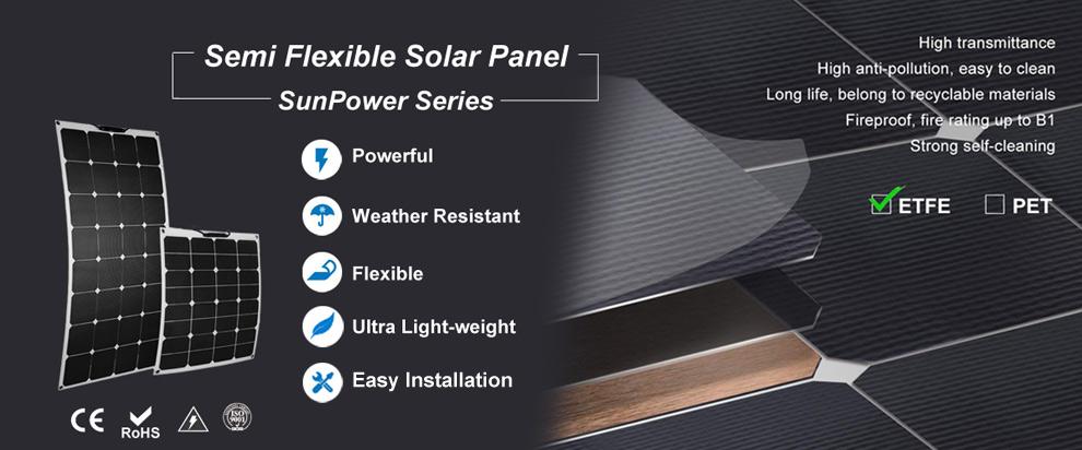 Marine RV ETFE Flexible Solar Panels
